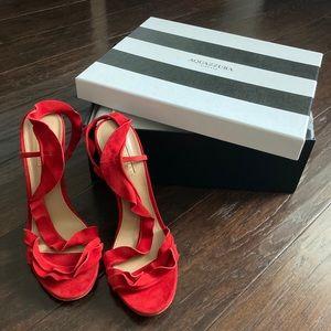 NWT Aquazzura Ruffle 105mm Sandals in Lipstick